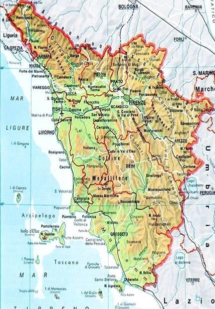 La Toscana Cartina Fisica.Anno 1954